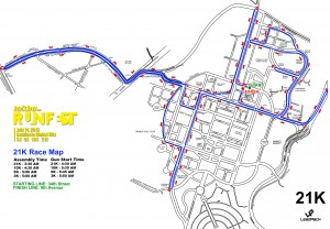 Runfest 21K Race Map
